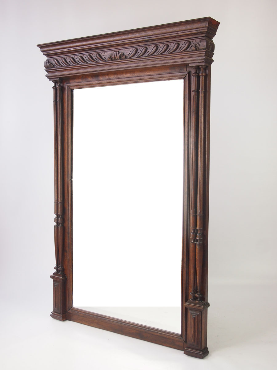 Large Antique French Oak Mirror Overmantle