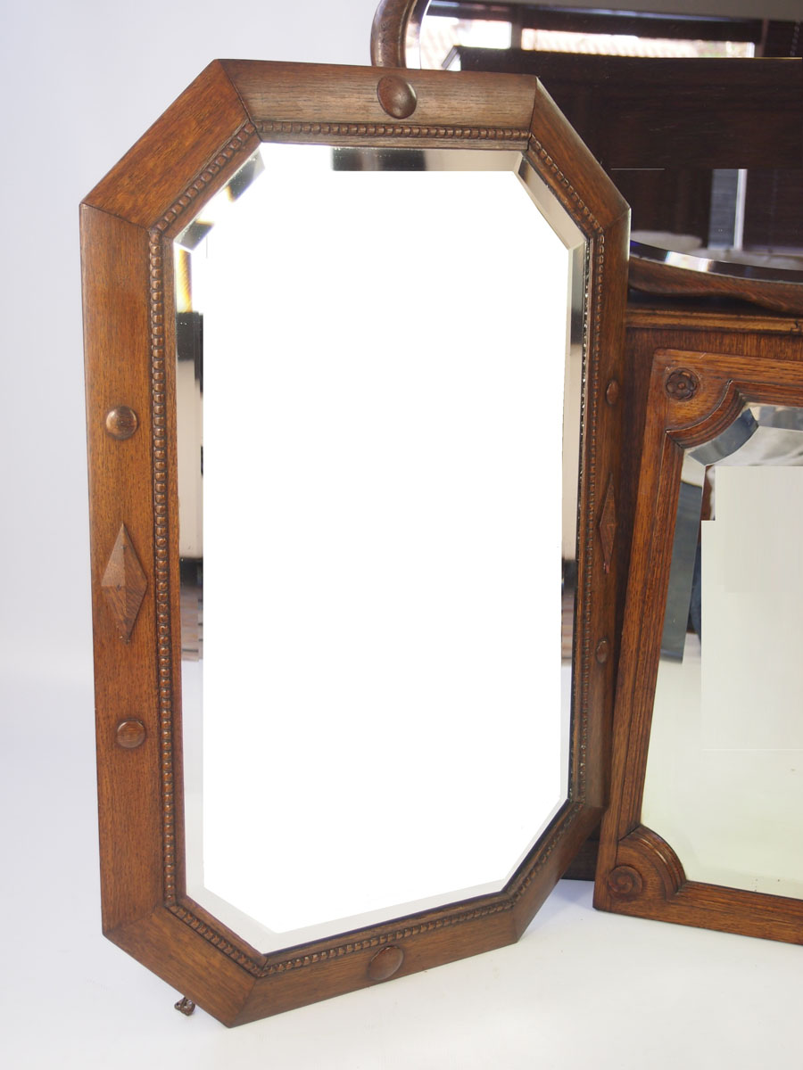 3 Oak Framed Wall Mirrors Circa 1920s