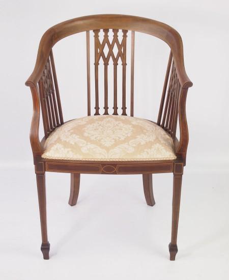 Mahogany Inlaid Edwardian Tub Chair