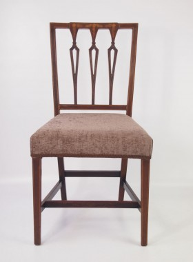 Pair Mahogany Inlaid Edwardian Side Chairs