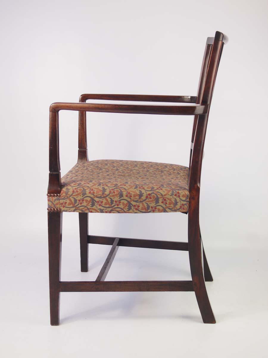 Antique Georgian Mahogany Open Armchair Desk Chair