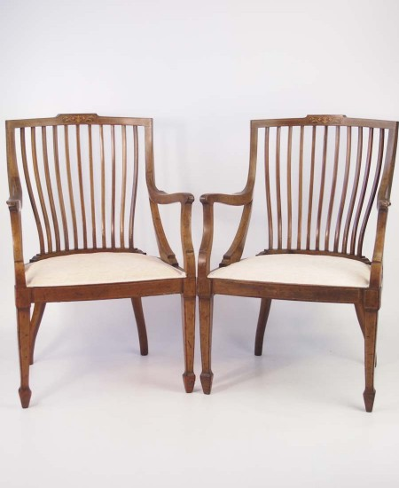Pair Edwardian Mahogany Tub Chairs