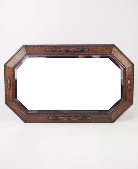 Hexagonal Oak Framed Mirror Circa 1920s