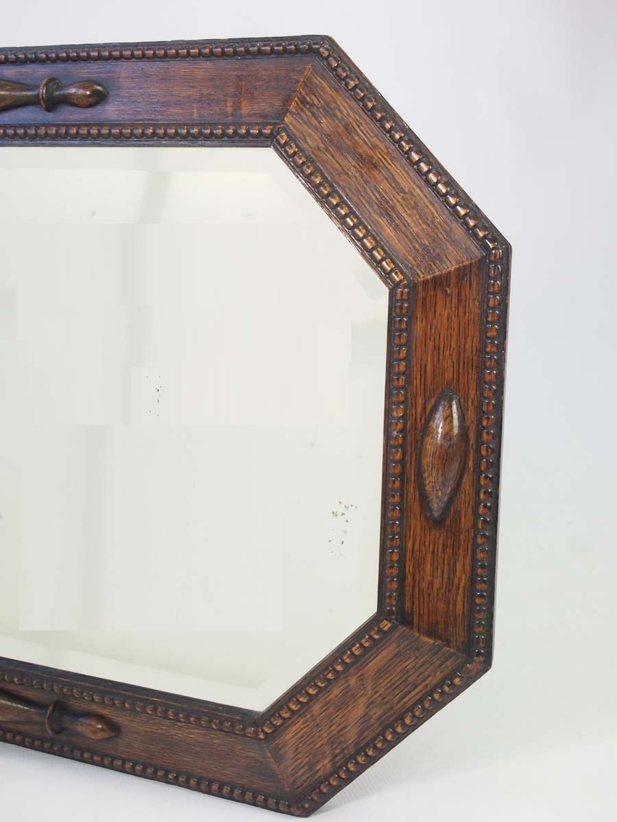 Octagonal Oak Framed Mirror Overmantle