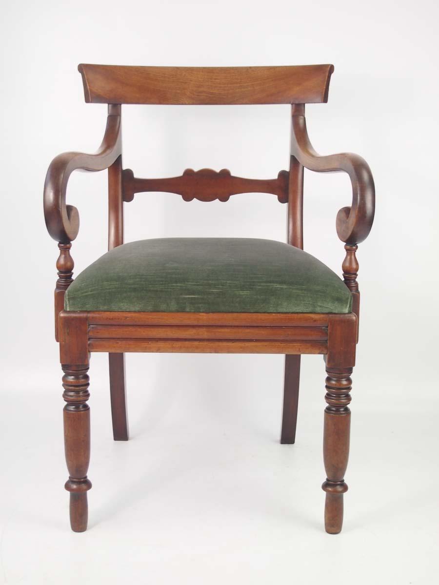 Antique Victorian Mahogany Open Armchair Desk Chair