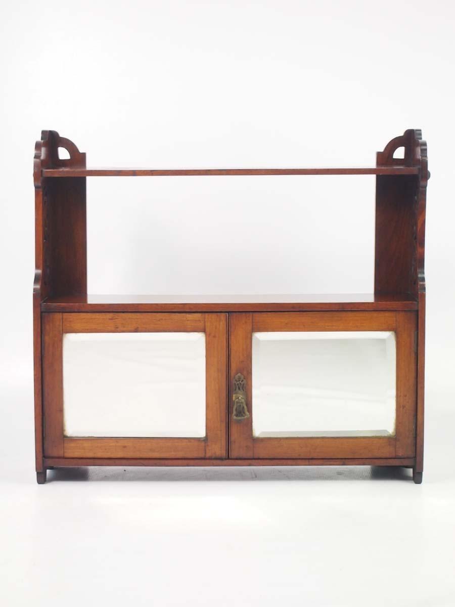 Victorian Walnut Hanging Cabinet / Bathroom Cabinet - -