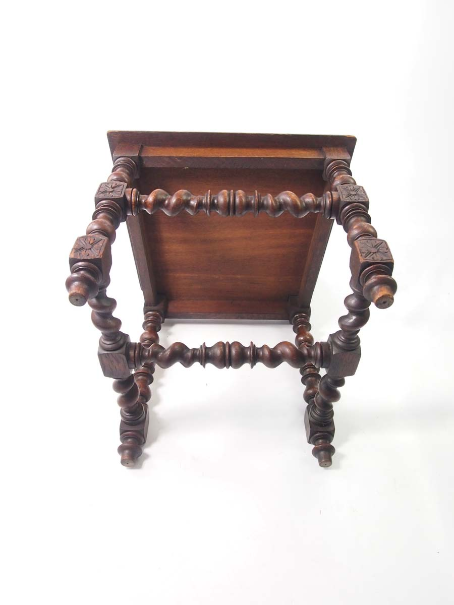 Antique Victorian Gothic Revival Oak Hall Chair