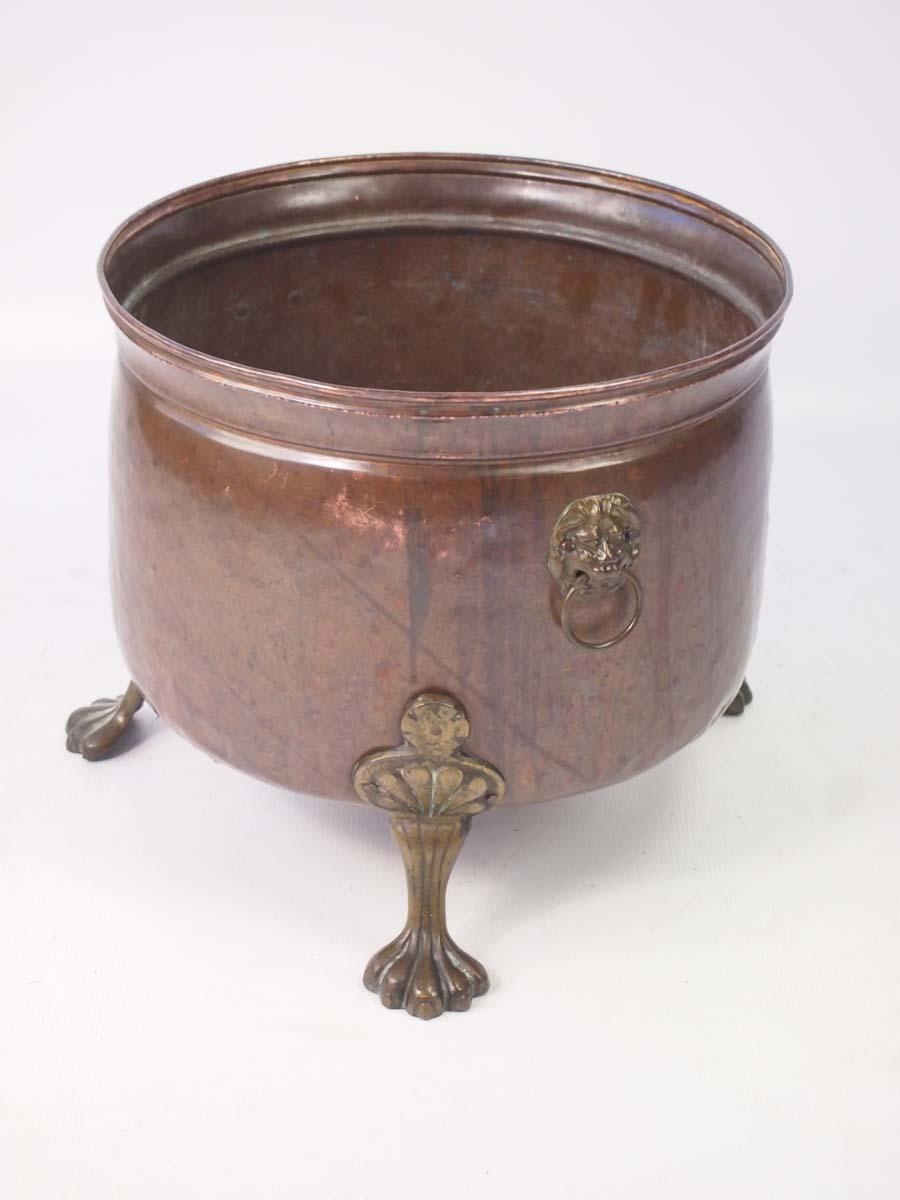 Copper Amp Brass Log Bin With Lions Paw Feet