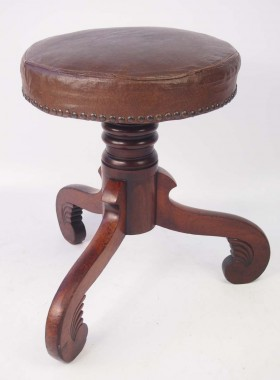 Antique Rise and Fall Piano Stool
