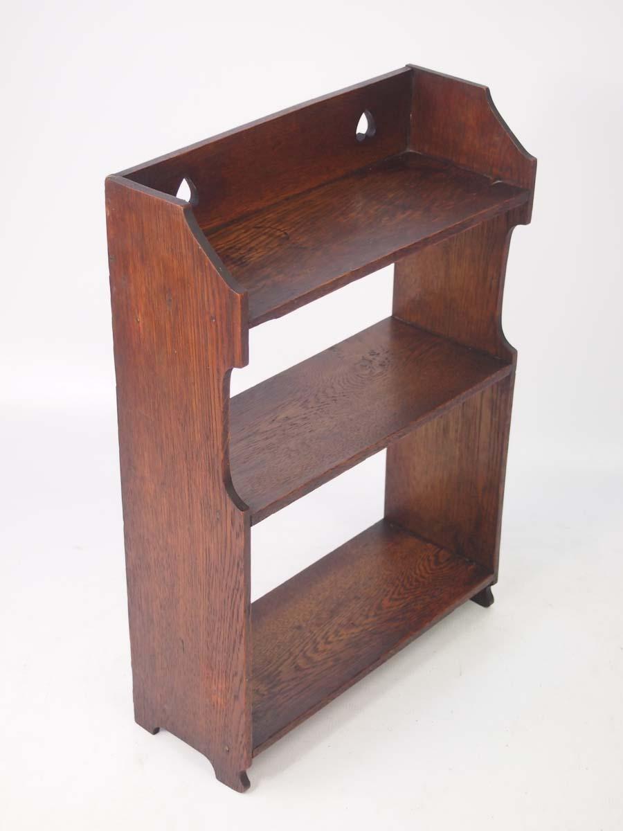 small edwardian arts  u0026 crafts oak hanging wall shelves