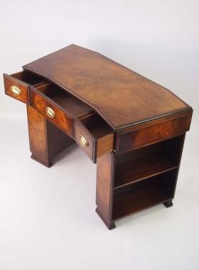 Small Art Deco Walnut Pedestal Desk