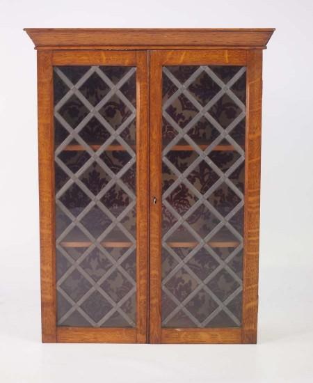 Small Edwardian Oak Hanging Cabinet