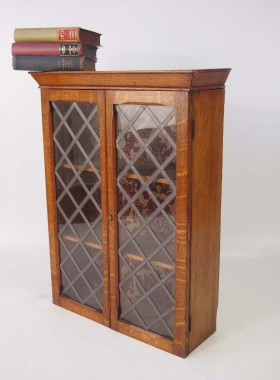 Small Edwardian Oak Hanging Cabinet
