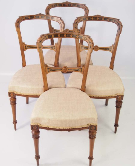 Set 4 Victorian Aesthetic Movemnet Balloon Back Chairs