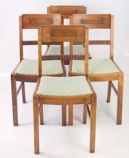 Set 4 Art Deco Oak Dining Chairs
