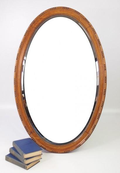 Large Edwardian Oak Framed Oval Mirror