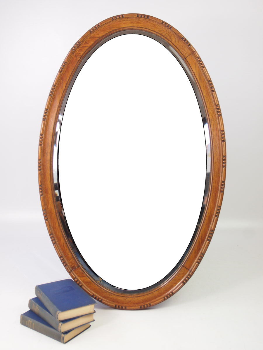 Large Edwardian Oak Framed Oval Mirror