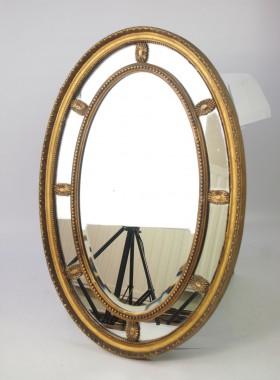 Edwardian Gilt Framed Oval Wall Mirror
