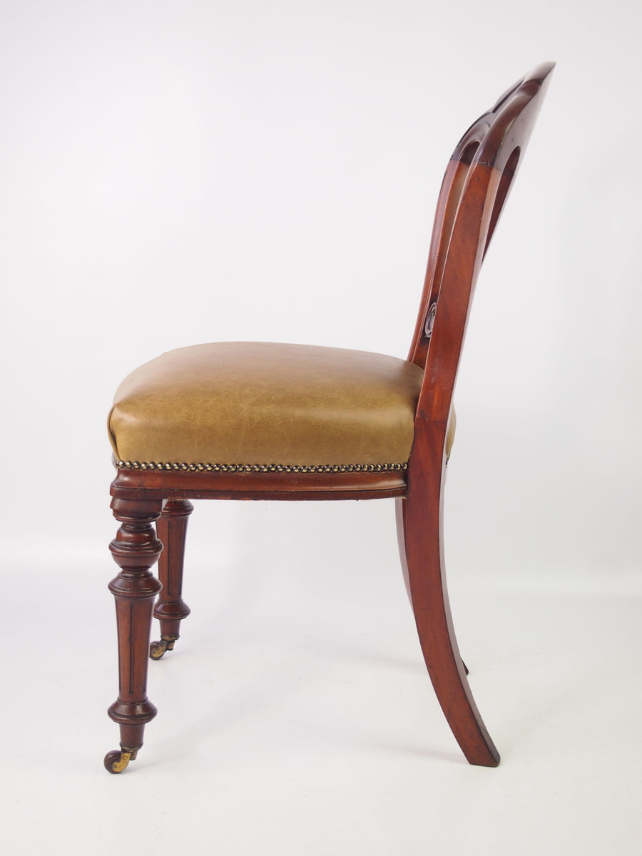 Antique Victorian Mahogany Amp Leather Desk Chair