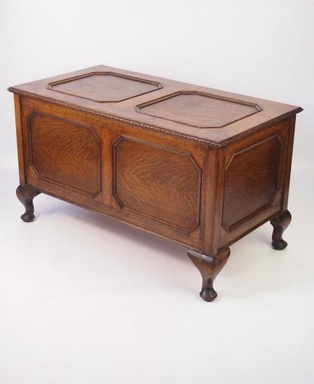 Vintage Panelled Oak Coffer