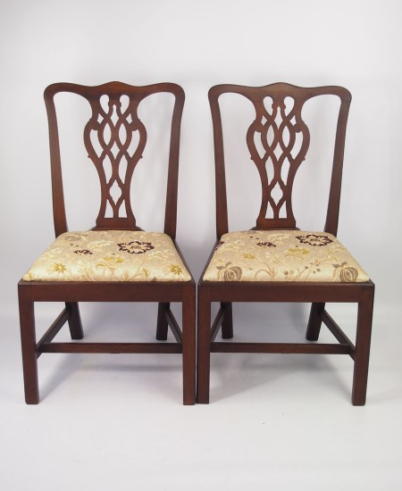 Pair Ewdardian Mahogany Chippendale Side Chairs