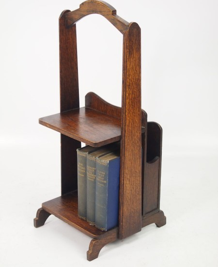 Art Deco Oak Book Trough Magazine Stand