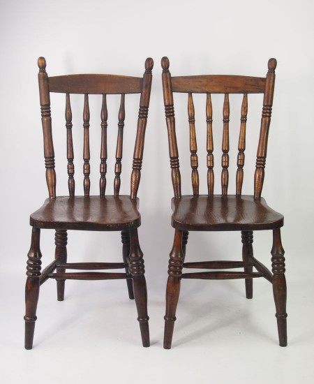 Pair Victorian Kitchen Chairs