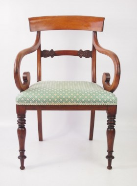Antique Victorian Scroll Arm Desk Chair