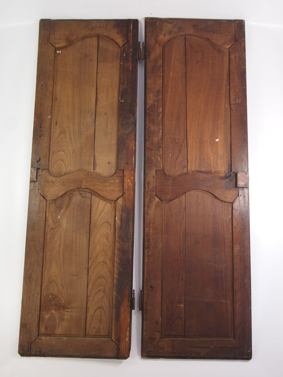 Large Pair Antique French Oak Cupboard Doors