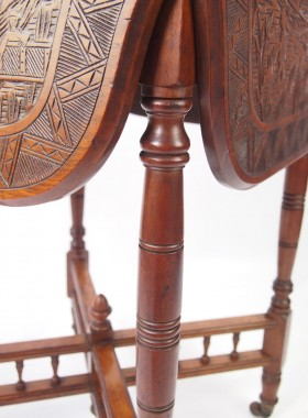 Edwardian Chinese Carved Drop Leaf Table