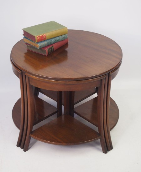 Art Deco Quintetto Mahogany Nest of Tables
