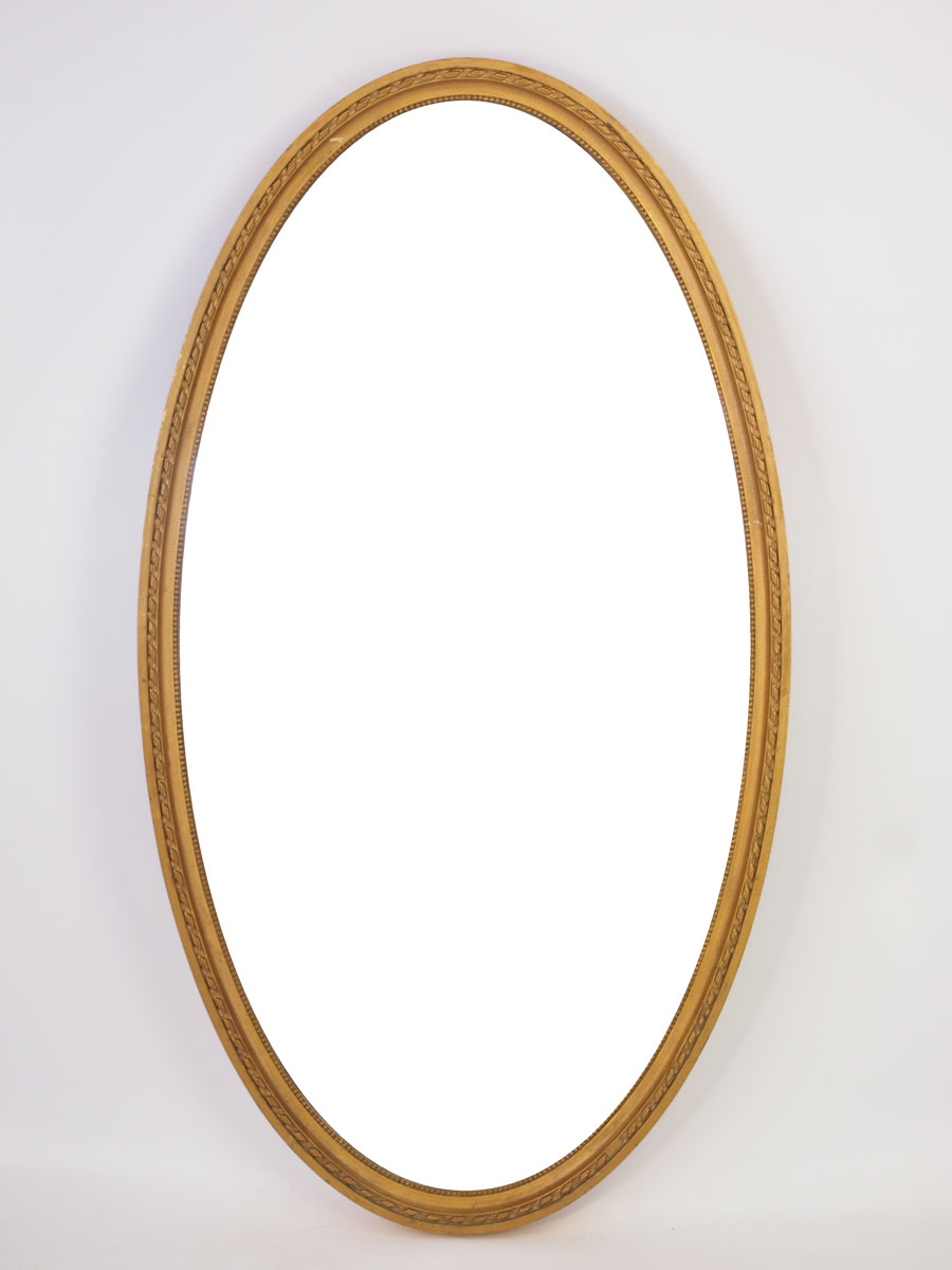 Large Edwardian Oval Gilt Framed Mirror