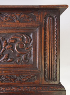 Antique Green Man Carved Oak Coffer