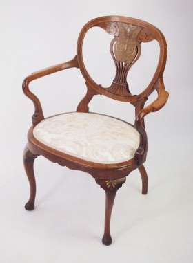 Victorian Rosewood and Inlaid Armchair