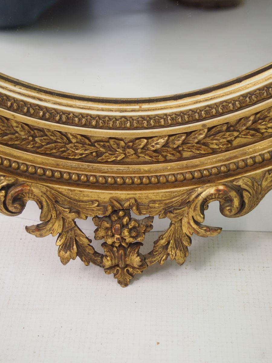 Antique Victorian Oval Gilt Framed Mirror