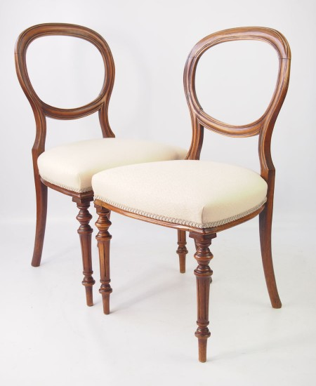 Pair Victorian Balloon Back Chairs