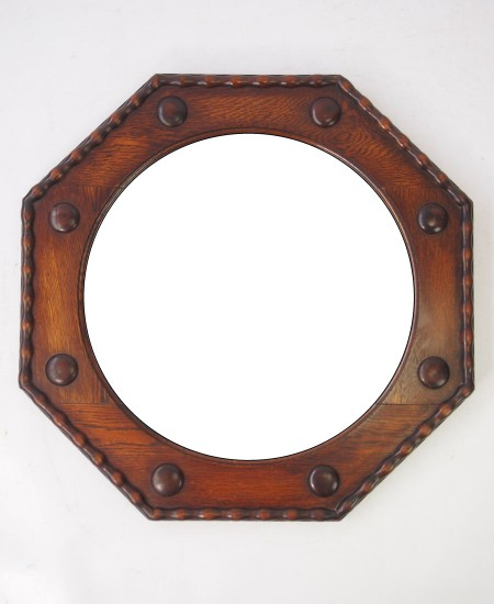 Octagonal Oak Hall Mirror