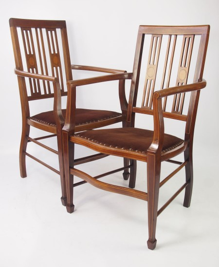 Near Pair Edwardian Armchairs