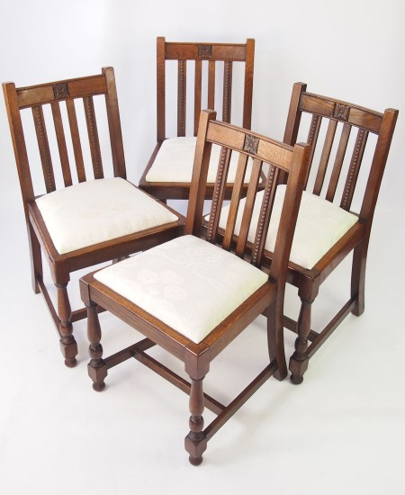 Set 4 1930s Oak Chairs