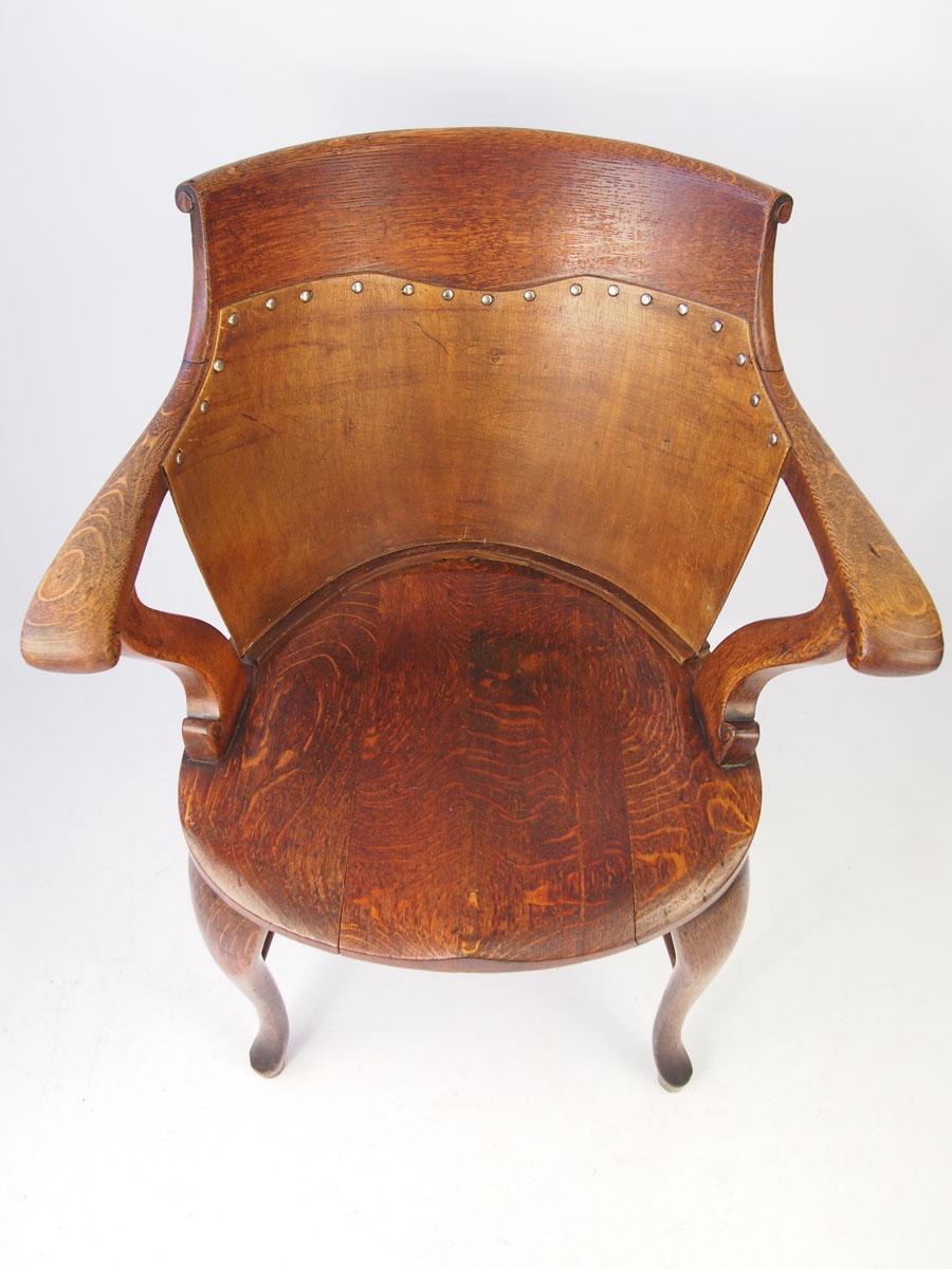Antique Edwardian Oak Captains Chair Desk Chair