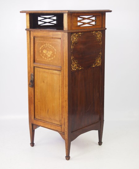 Edwardian Mahogany Floral Painted Music Cabinet