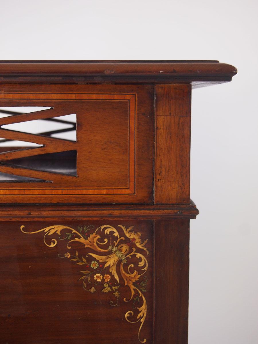 Edwardian Mahogany Amp Floral Painted Music Cabinet
