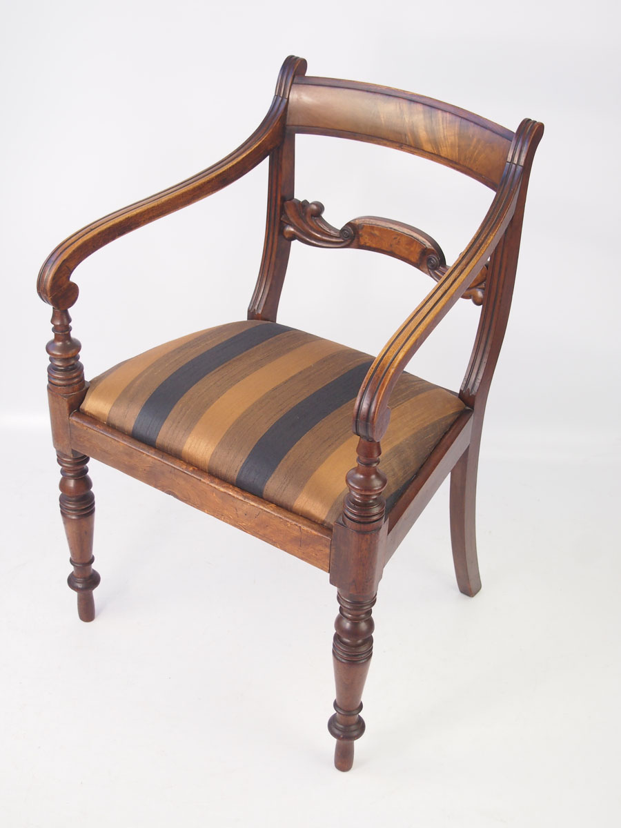 Antique Regency Mahogany Desk Chair / Open Armchair