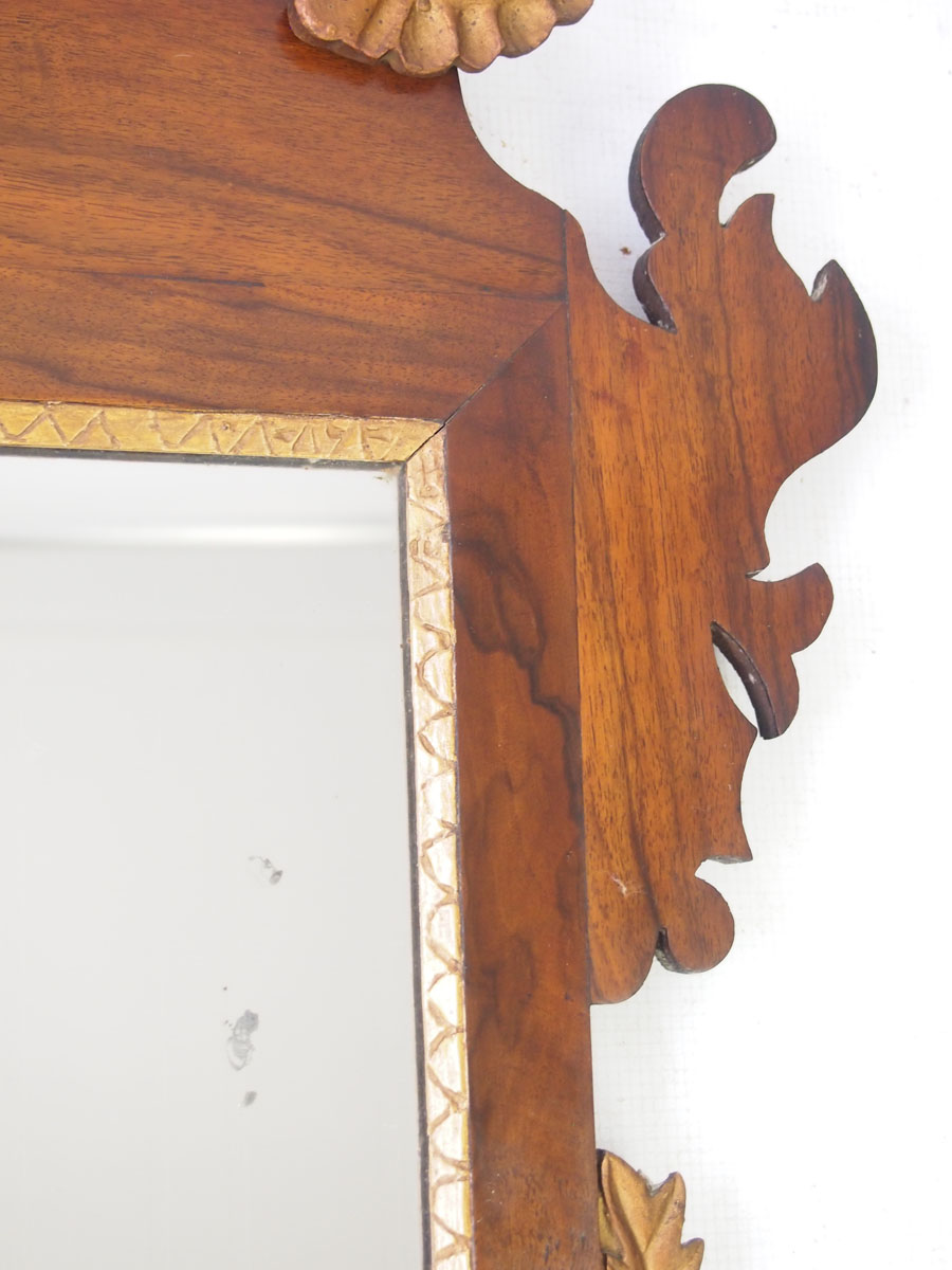 Antique Victorian Fretwork Walnut Mirror