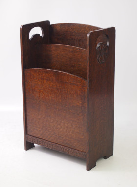 Art Deco Oak Magazine Stand