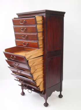 Tall Slim Antique Edwardian Music Chest
