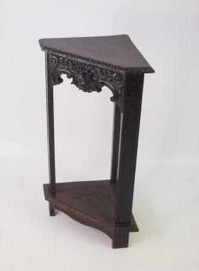 Victorian Gothic Oak Corner Jardiniere