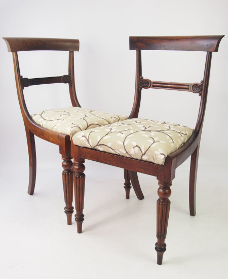 Pair Antique Rosewood Side Chairs