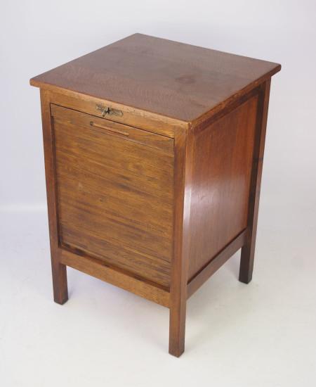 Vintage Oak Tambour Front Filing Cabinet