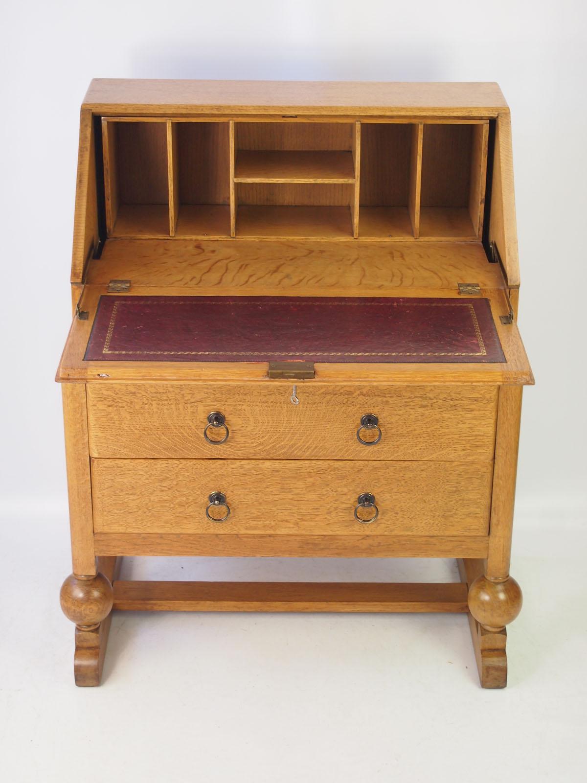 vintage art deco oak bureau. Black Bedroom Furniture Sets. Home Design Ideas